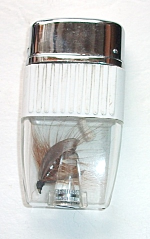 Vintage 1970`s Japan Vue White Fishing Fly Lighter