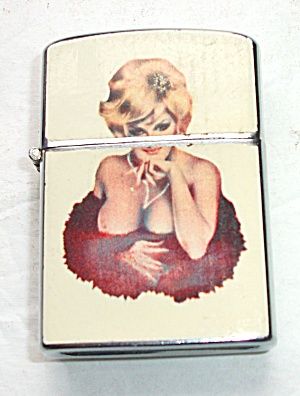 PINUP BLONDE WITH FUR KRON LIGHTER (Image1)