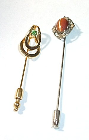 2 VINTAGE HAT PINS GOLD TONE & CATS EYE SILVER TONE (Image1)