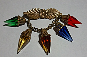 1890`S PIN BACK BROOCH RED - GREEN - YELLOW - BLUE - OR (Image1)