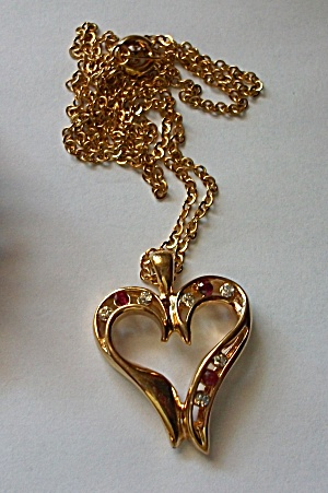 VINTAGE 1960`S RED & CLEAR RHINESTONE HEART NECKLACE (Image1)