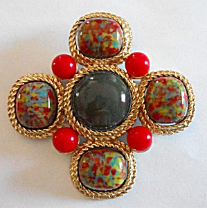 Vintage Large Sarah Coventry Cross Brooch Jewelry At