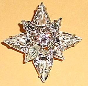 VINTAGE WEISS CLEAR RHINESTONE STAR BROOCH (Image1)
