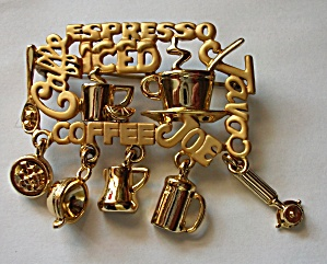 Vintage Danecraft Cafe - Coffee - Joe - Brooch