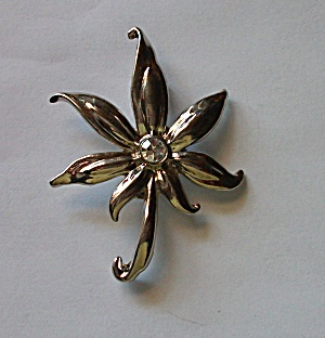 VINTAGE SILVER TONE FLORAL BROOCH CLEAR RHINESTONE (Image1)