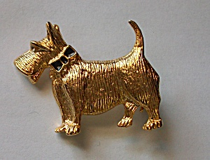 VINTAGE GOLD TONE SCOTTISH TERRIER BROOCH (Image1)