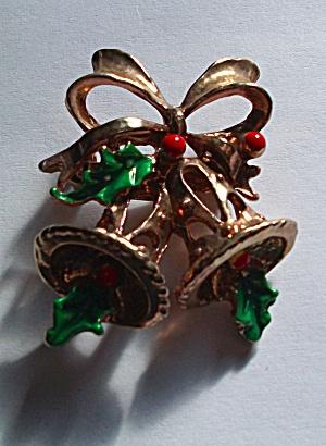GOLD TONE & ENAMEL CHRISTMAS BELLS BROOCH (Image1)