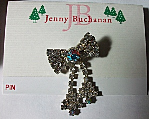 NOS JENNY BUCHANAN RHINESTONE DANGLE BOW BROOCH (Image1)