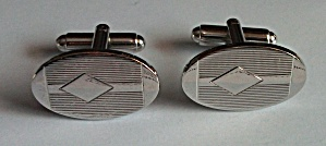 ART DECO SILVER TONE ENGINED TRIANGLE CUFF LINKS (Image1)