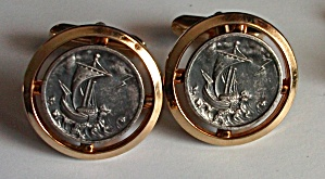 SHIP IN A STORM GOLD & WASHED PEWTER TONES CUFF LINKS (Image1)