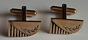 ART DECO GOLD TONE ENGINED LEAF DESIGN CUFF LINKS (Image1)