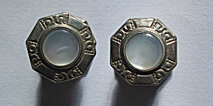 1920`S SNAP CUFFLINKS STERLING SILVER & MOP CUFF LINKS (Image1)