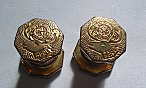 1930`S EMBOSSED B P O E KUMA A PART SNAP CUFF LINKS (Image1)