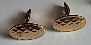 HONEY COMB OVAL GOLD TONE CUFF LINKS PAT. 2974381 -1961 (Image1)