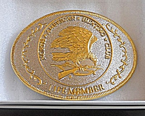 North American Hunting Club Gold Silver Belt Buckle  (Image1)