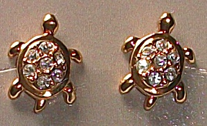 VINTAGE AVON PRECIOUS TURTLES EAR RINGS  (Image1)