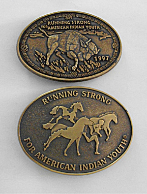 2 RUNNING STRONG AMERICAN INDIAN YOUTH BUCKLES (Image1)