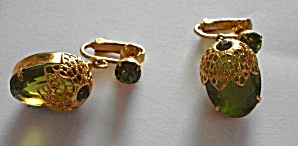 BEAUTIFUL SARAH COVENTRY GREEN & GOLD DANGLE EARRINGS (Image1)