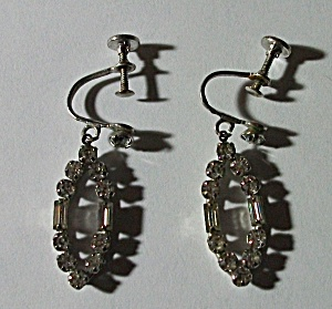 1950`S OVAL DANGLE TEARDROP RHINESTONE EARRINGS (Image1)