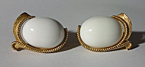 TRIFARI GOLD FINISH WHITE OVAL CABOCHON EARRINGS (Image1)