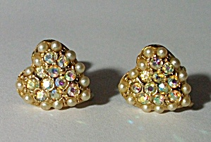 1960`S AURORA BOREALIS RHINESTONE FAUX PEARLS EARRINGS (Image1)