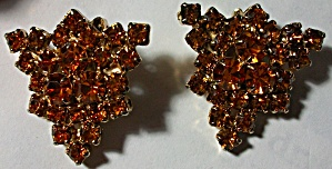 1960`S TOPAZ COLOR RHINESTONE LEAF EARRINGS (Image1)