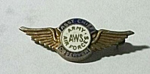 Vintage Lapel Pin Back A W S Army Air Force Asst Cheif
