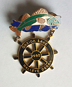 RARE LIMITED EDITION 1992 ONEIDA LAKE WALLEYE DERBY PIN (Image1)