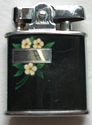 VINTAGE RONSON PRINCESS FLORAL BLACK ENAMEL LIGHTER (Image1)