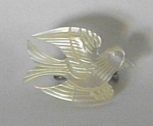 Vintage Hand Carved Mother Of Pearl Flying Dove Brooch