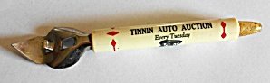 VINTAGE 1960`S ADV. TINNIN AUTO AUCTION BOTTLE OPENER  (Image1)
