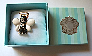"Vintage Enamel ""angel"" Cat Brooch"