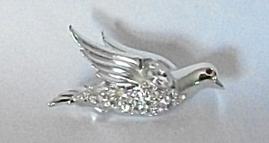 VINTAGE SILVER TONE RHINESTONE  FLYING DOVE RED EYES (Image1)