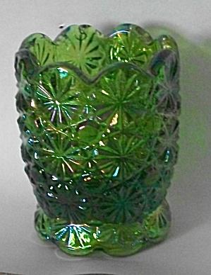 VINTAGE APPLE GREEN CARNIVAL GLASS TOOTH PICK HOLDER (Image1)