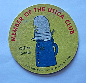 Utica Club Beer Coaster Officer Sudds