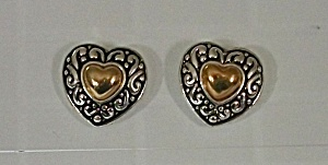 AVON SILVER & GOLD TONE HEART EAR RINGS (Image1)