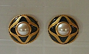 Vintage Gold Tone Black Enamel Faux Pearl Ear Rings