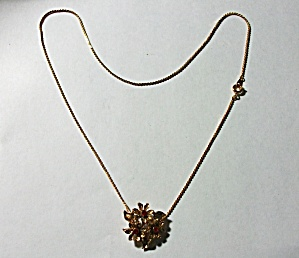 Vintage 1960`s Red Floral Rhinestone Necklace