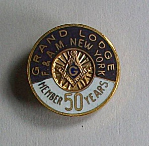 Old Mason Grand Lodge F & A M New York Member 50 Years