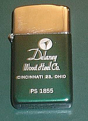 Vintage Park Lighter Advertising Delaney Wood Heel Co.