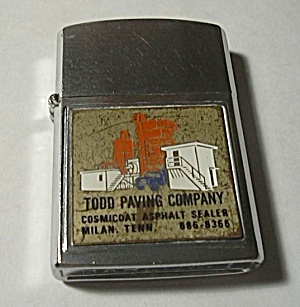 VINTAGE BARLOW B54 ADVERTISING LIGHTER TODD PAVING COM (Image1)