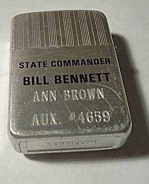 Aluminum Adv. Lighter St. Commander Bill Bennett