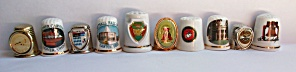 10 DIFFERENT USA THIMBLES METAL & PORCELAIN (Image1)