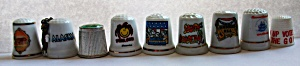 9 DIFFERENT COLLECTIBLE THIMBLES PORCELAIN  (Image1)