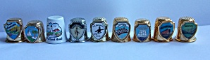 9 VINTAGE METAL STATE SHIELDS THIMBLES (Image1)