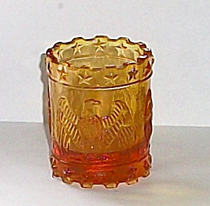VINTAGE 1970`S AMBER AMERICAN EAGLE TOOTH PICK HOLDER (Image1)