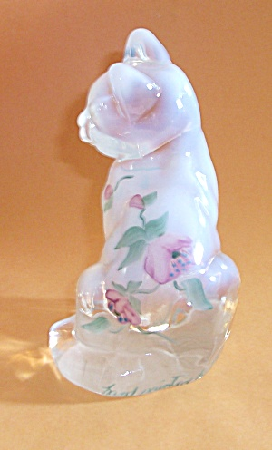 FENTON HAND PAINTED FLORAL GLASS CAT BY R. STEWART (Image1)