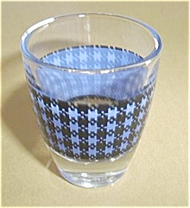 Vintage Blue Plaid Shot Glass