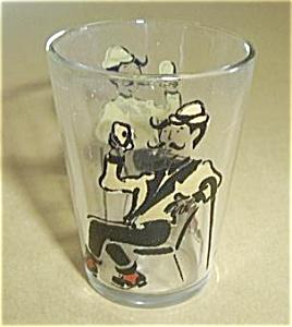 VINTAGE MAN W/CANE AT BAR DRINKING SHOT GLASS. (Image1)