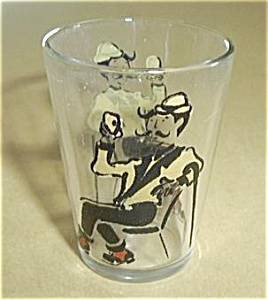 VINTAGE MAN W/CANE AT BAR DRINKING SHOT GLASS. (Image1)